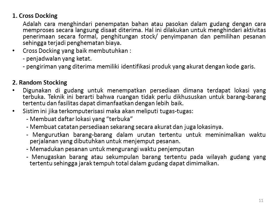 1. Cross Docking