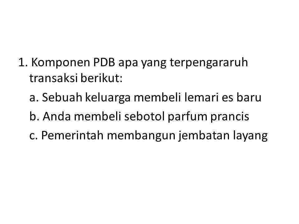 1. Komponen PDB apa yang terpengararuh transaksi berikut: a