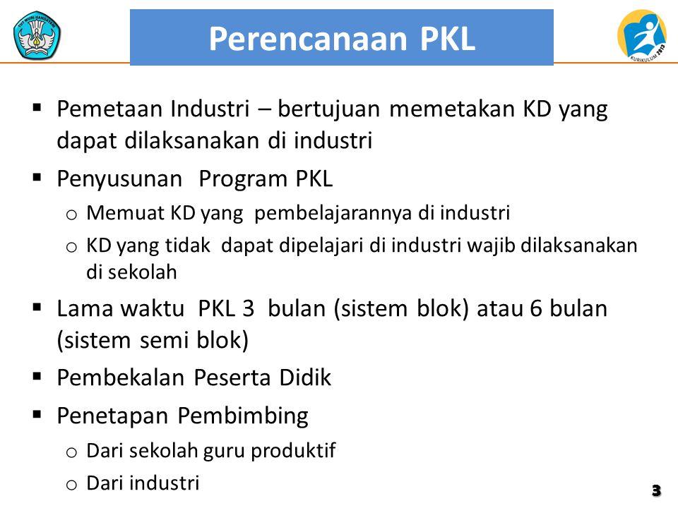 Perencanaan PKL Pemetaan Industri – bertujuan memetakan KD yang dapat dilaksanakan di industri. Penyusunan Program PKL.