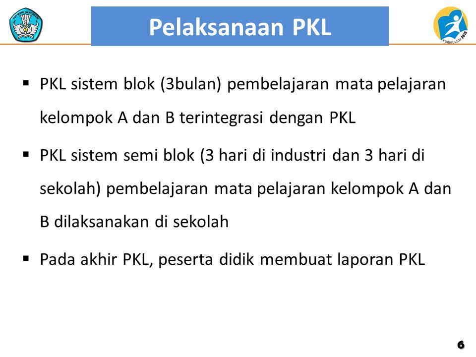 Pelaksanaan PKL PKL sistem blok (3bulan) pembelajaran mata pelajaran kelompok A dan B terintegrasi dengan PKL.