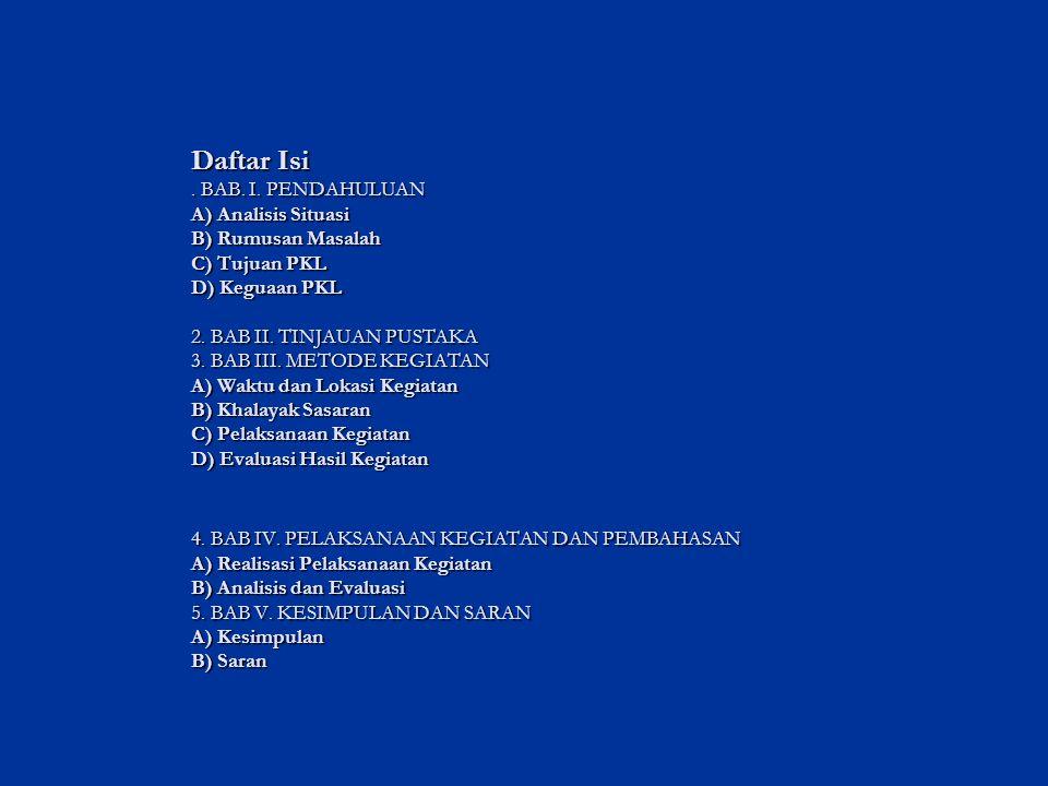 Daftar Isi . BAB. I.