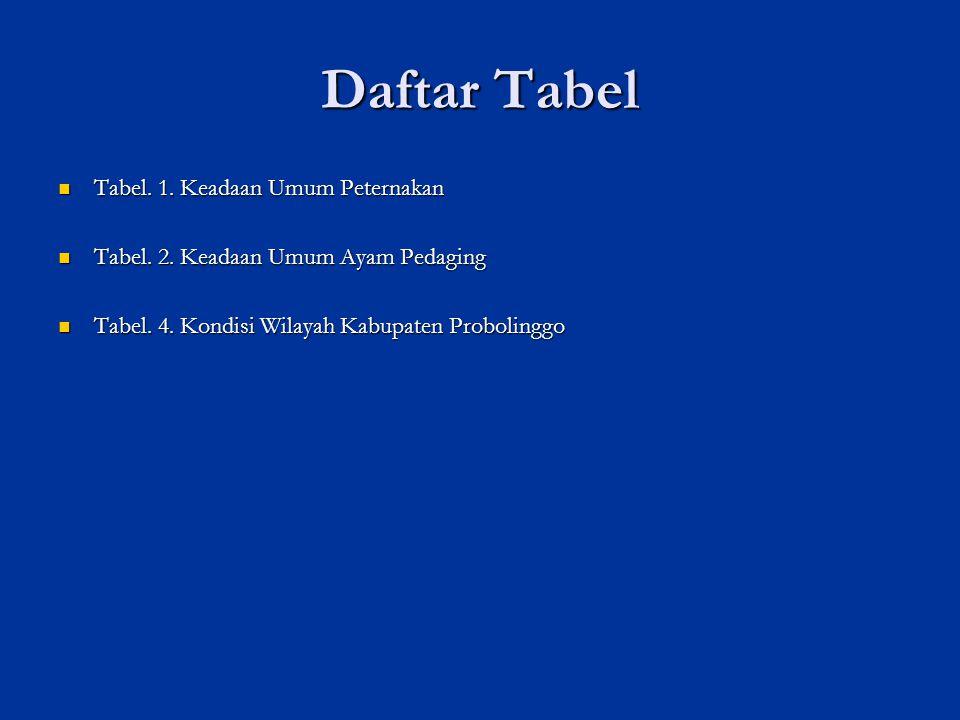 Daftar Tabel Tabel. 1. Keadaan Umum Peternakan