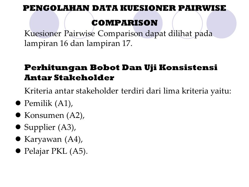 PENGOLAHAN DATA KUESIONER PAIRWISE COMPARISON