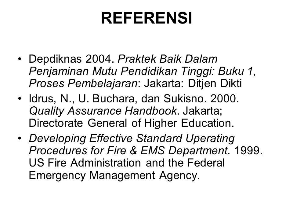 REFERENSI Depdiknas 2004. Praktek Baik Dalam Penjaminan Mutu Pendidikan Tinggi: Buku 1, Proses Pembelajaran: Jakarta: Ditjen Dikti.