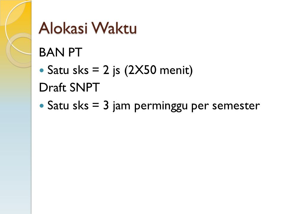 Alokasi Waktu BAN PT Satu sks = 2 js (2X50 menit) Draft SNPT