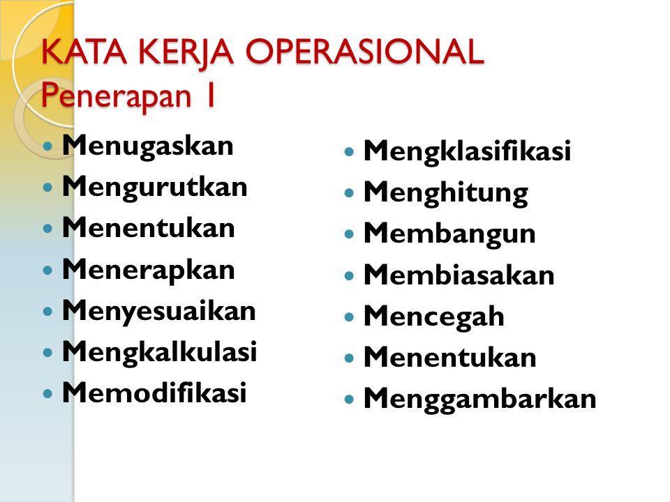 KATA KERJA OPERASIONAL Penerapan 1