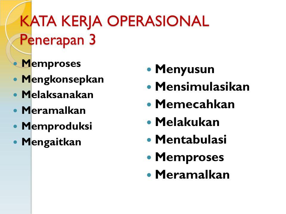 KATA KERJA OPERASIONAL Penerapan 3