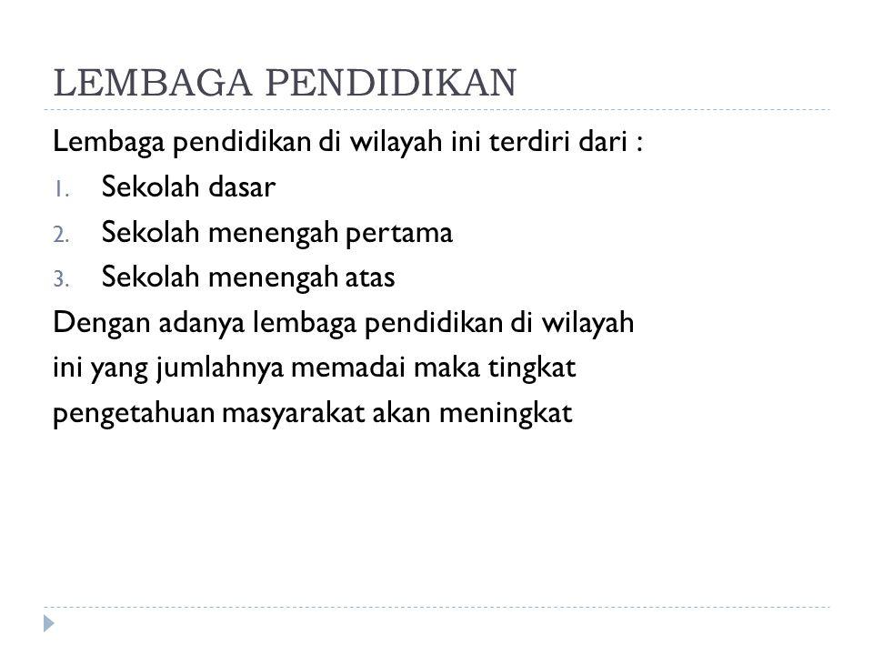 LEMBAGA PENDIDIKAN Lembaga pendidikan di wilayah ini terdiri dari :