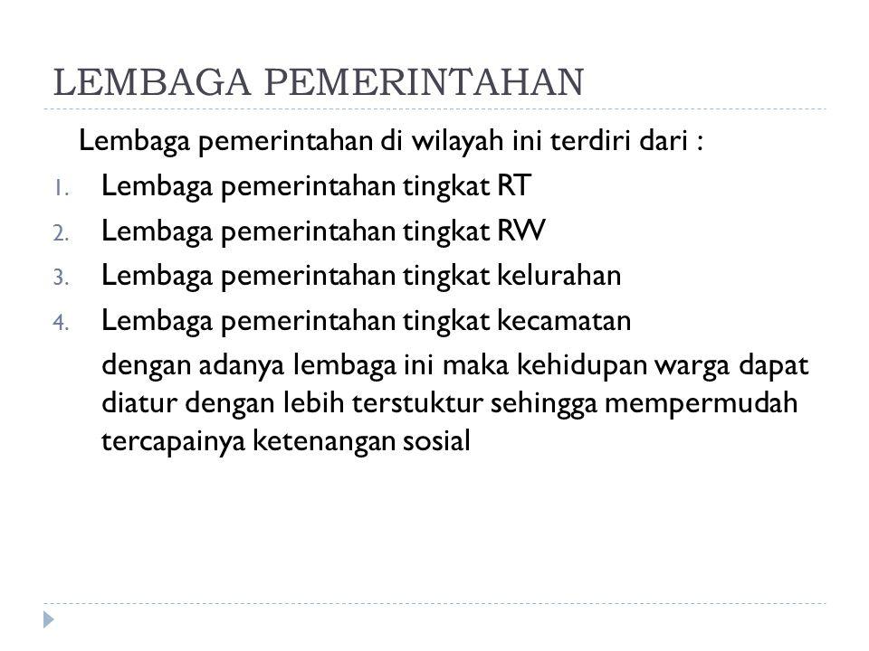LEMBAGA PEMERINTAHAN Lembaga pemerintahan di wilayah ini terdiri dari : Lembaga pemerintahan tingkat RT.