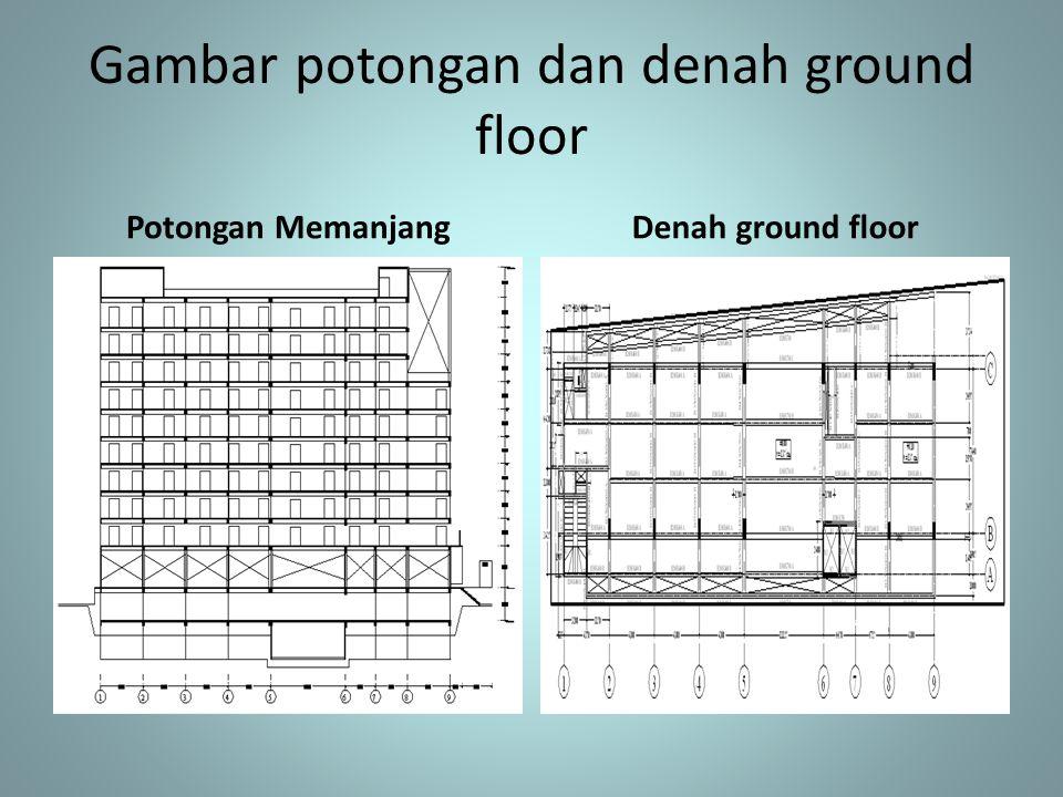 Gambar potongan dan denah ground floor