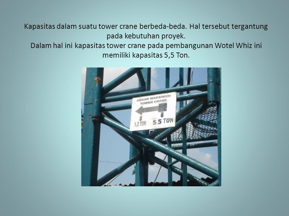 Kapasitas dalam suatu tower crane berbeda-beda