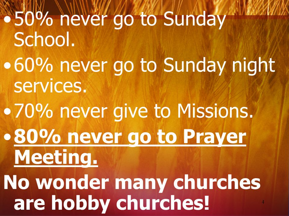 50% never go to Sunday School.