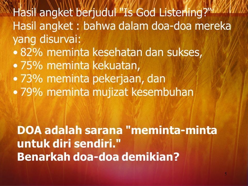 Hasil angket berjudul Is God Listening