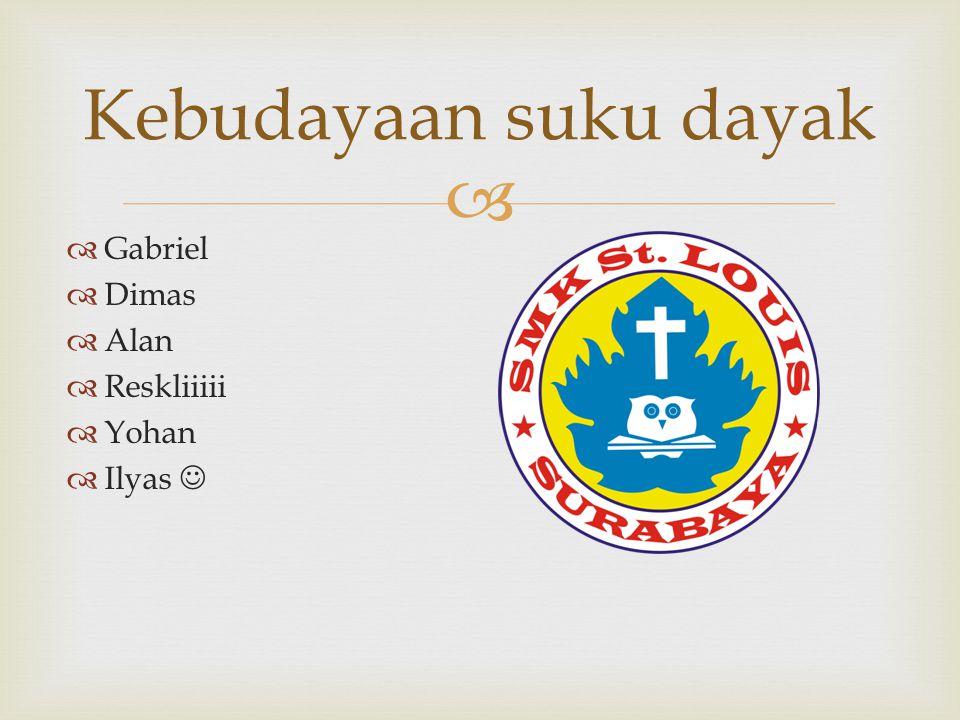 Kebudayaan suku dayak Gabriel Dimas Alan Reskliiiii Yohan Ilyas 