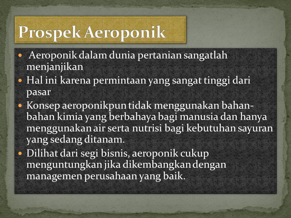 Prospek Aeroponik Aeroponik dalam dunia pertanian sangatlah menjanjikan. Hal ini karena permintaan yang sangat tinggi dari pasar.