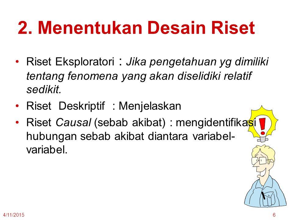 2. Menentukan Desain Riset