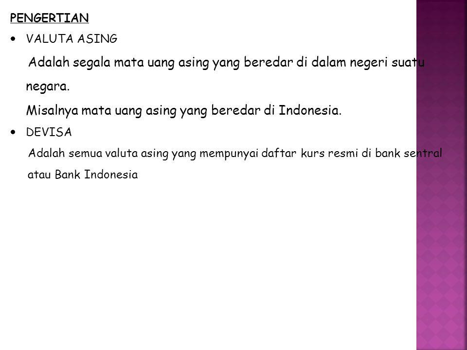 Misalnya mata uang asing yang beredar di Indonesia.