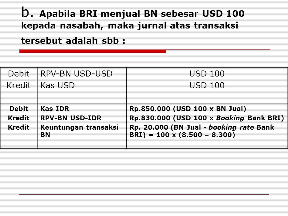 b. Apabila BRI menjual BN sebesar USD 100 kepada nasabah, maka jurnal atas transaksi tersebut adalah sbb :