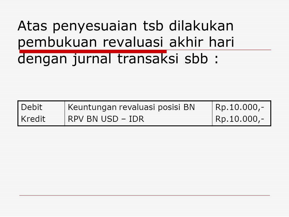 Atas penyesuaian tsb dilakukan pembukuan revaluasi akhir hari dengan jurnal transaksi sbb :