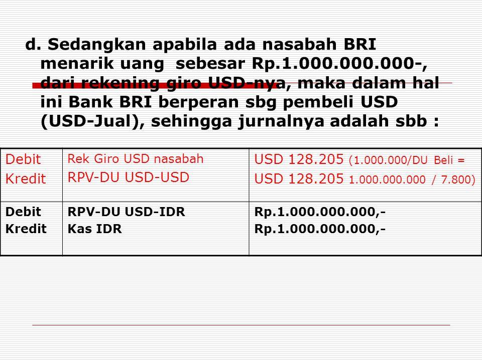 d. Sedangkan apabila ada nasabah BRI menarik uang sebesar Rp. 1. 000