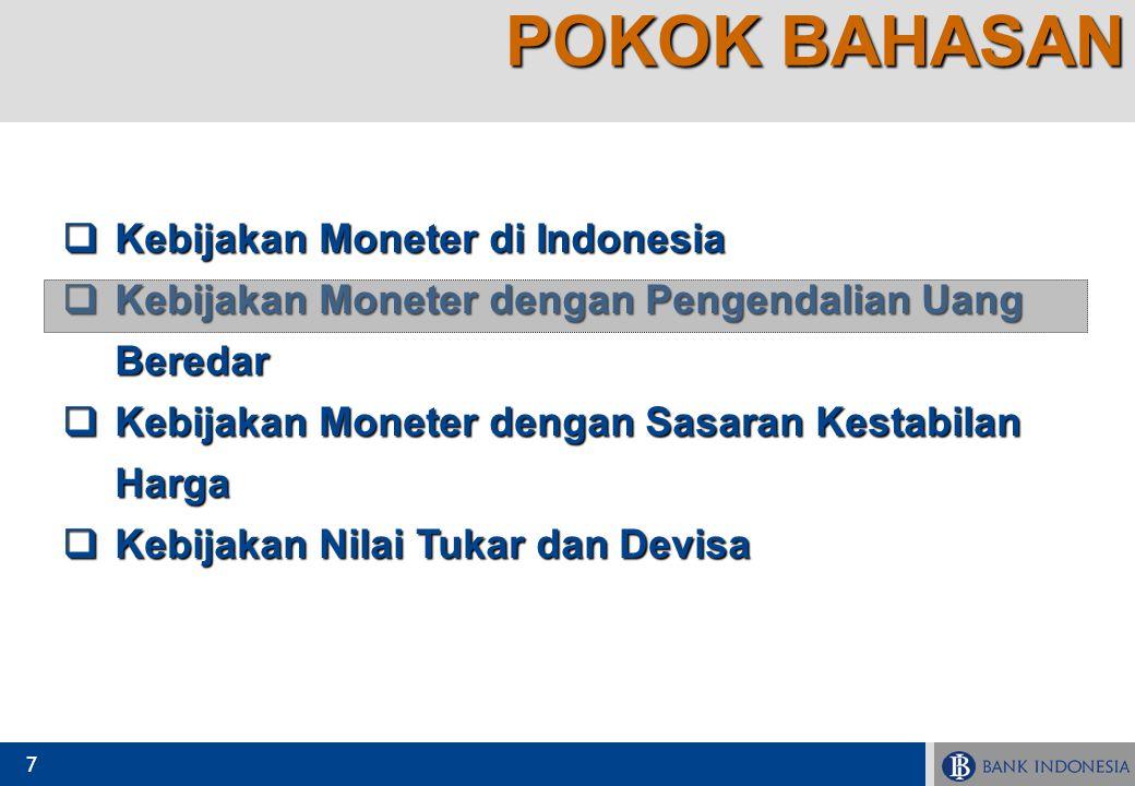 POKOK BAHASAN Kebijakan Moneter di Indonesia