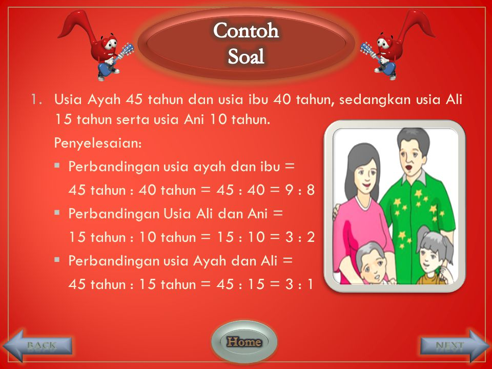 Contoh Soal. Usia Ayah 45 tahun dan usia ibu 40 tahun, sedangkan usia Ali 15 tahun serta usia Ani 10 tahun.