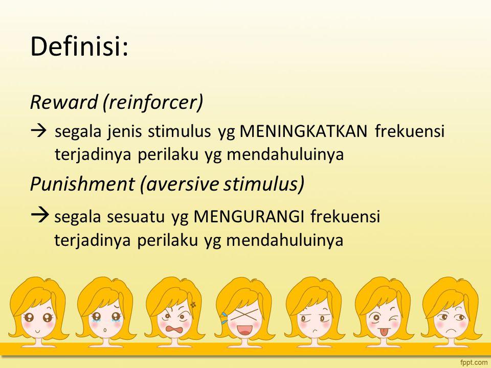 Definisi: Reward (reinforcer) Punishment (aversive stimulus)