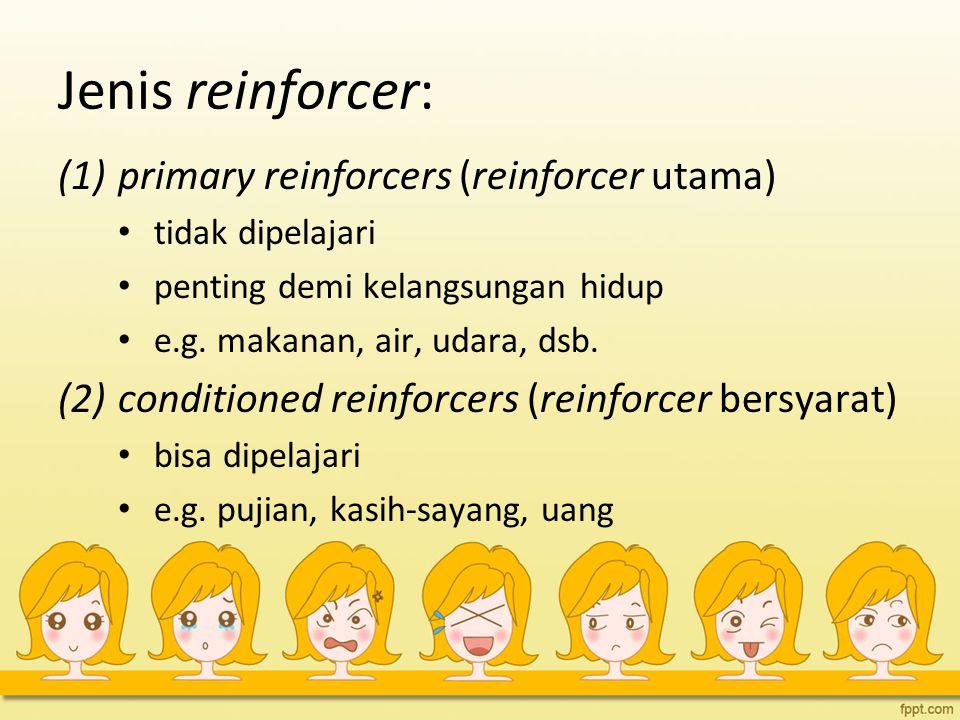 Jenis reinforcer: primary reinforcers (reinforcer utama)