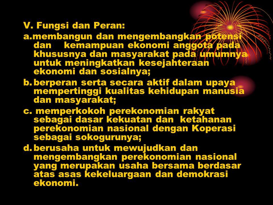 V. Fungsi dan Peran: