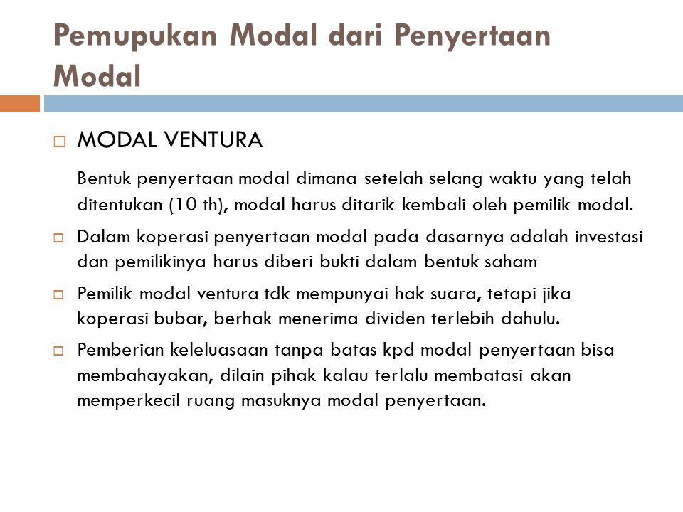 Pemupukan Modal dari Penyertaan Modal