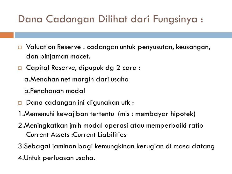 Dana Cadangan Dilihat dari Fungsinya :