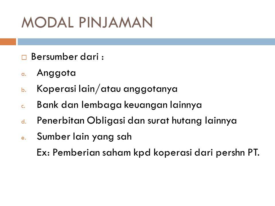MODAL PINJAMAN Bersumber dari : Anggota Koperasi lain/atau anggotanya