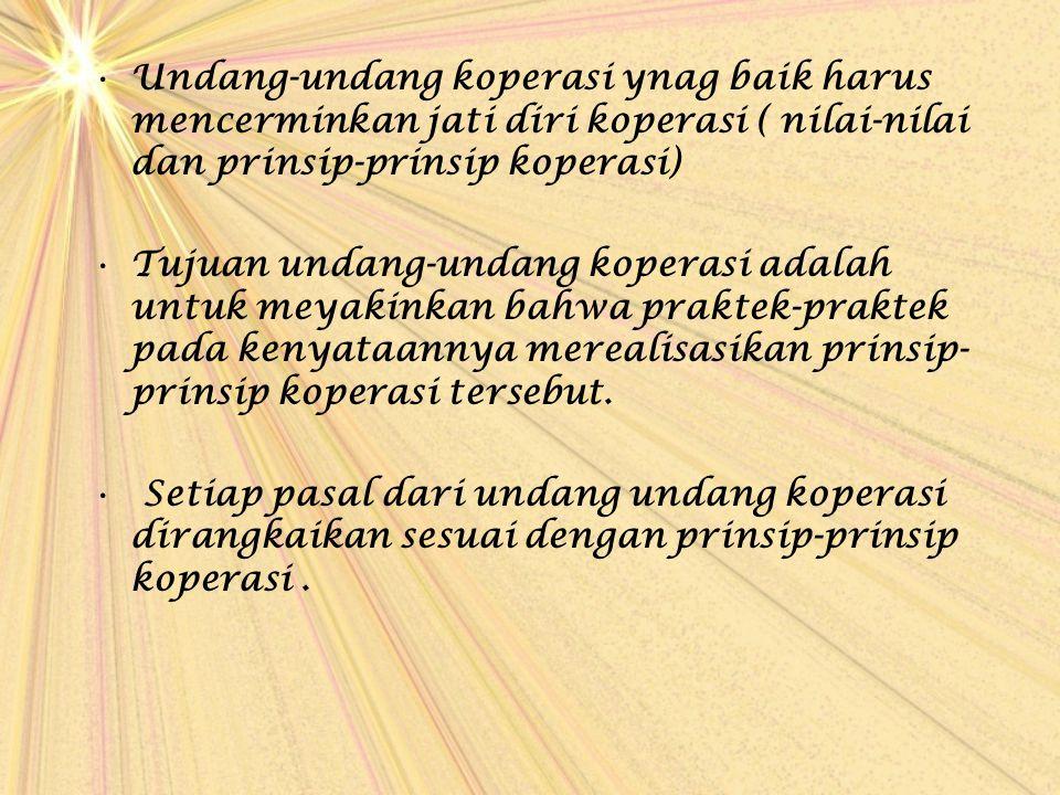 Undang-undang koperasi ynag baik harus mencerminkan jati diri koperasi ( nilai-nilai dan prinsip-prinsip koperasi)