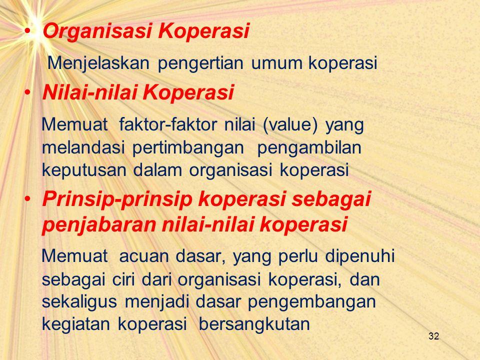Organisasi Koperasi Menjelaskan pengertian umum koperasi. Nilai-nilai Koperasi.