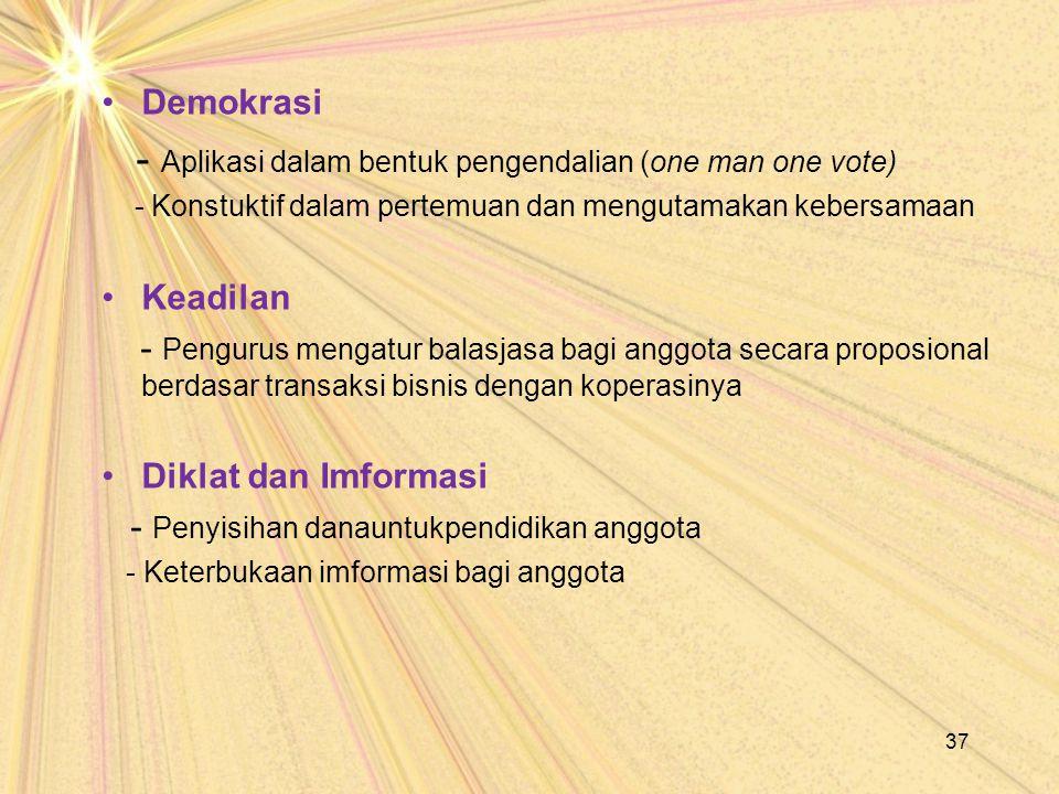 - Aplikasi dalam bentuk pengendalian (one man one vote)