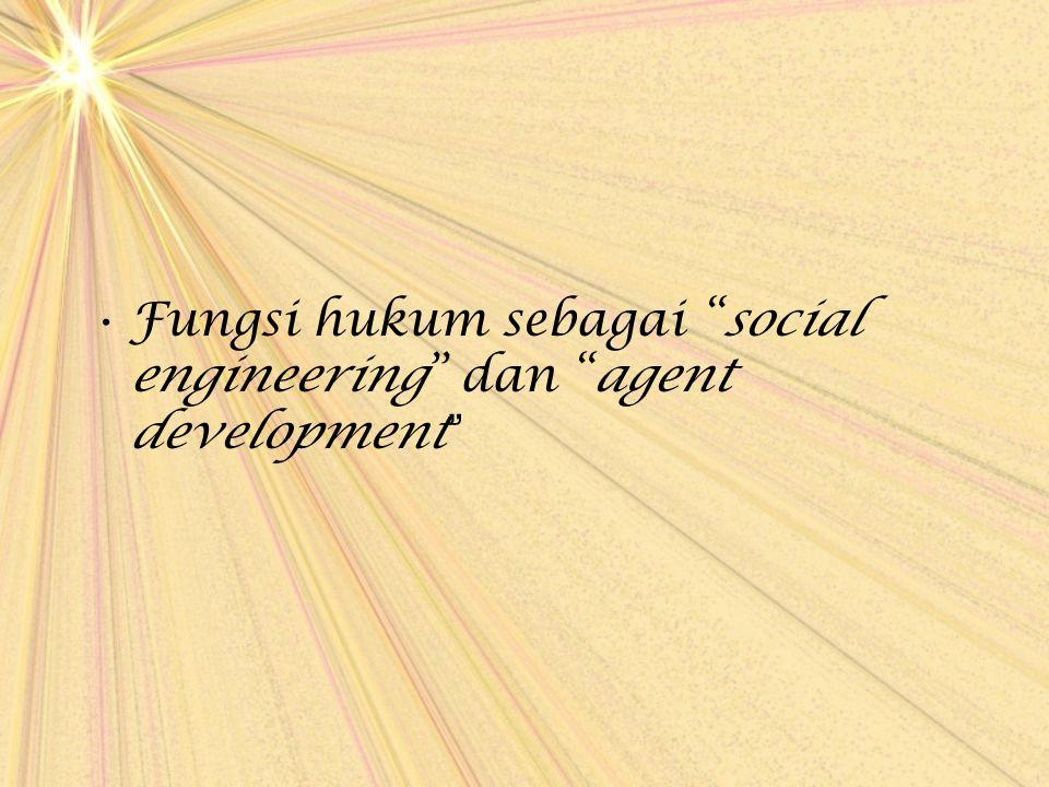 Fungsi hukum sebagai social engineering dan agent development