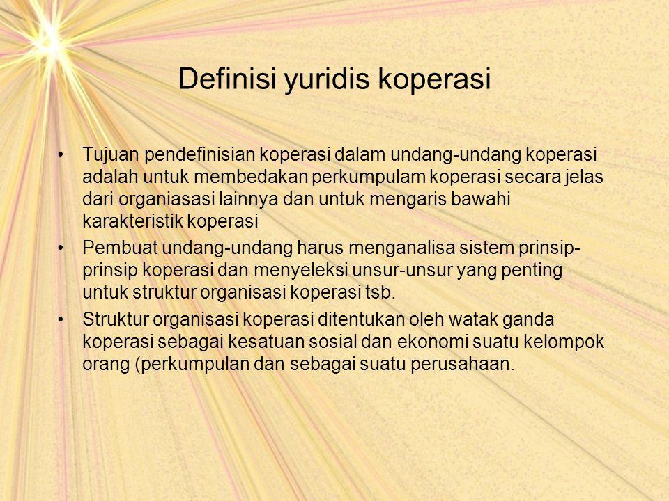 Definisi yuridis koperasi