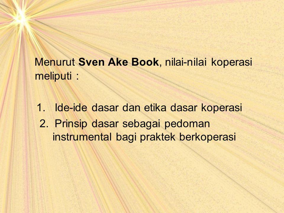 Menurut Sven Ake Book, nilai-nilai koperasi meliputi :