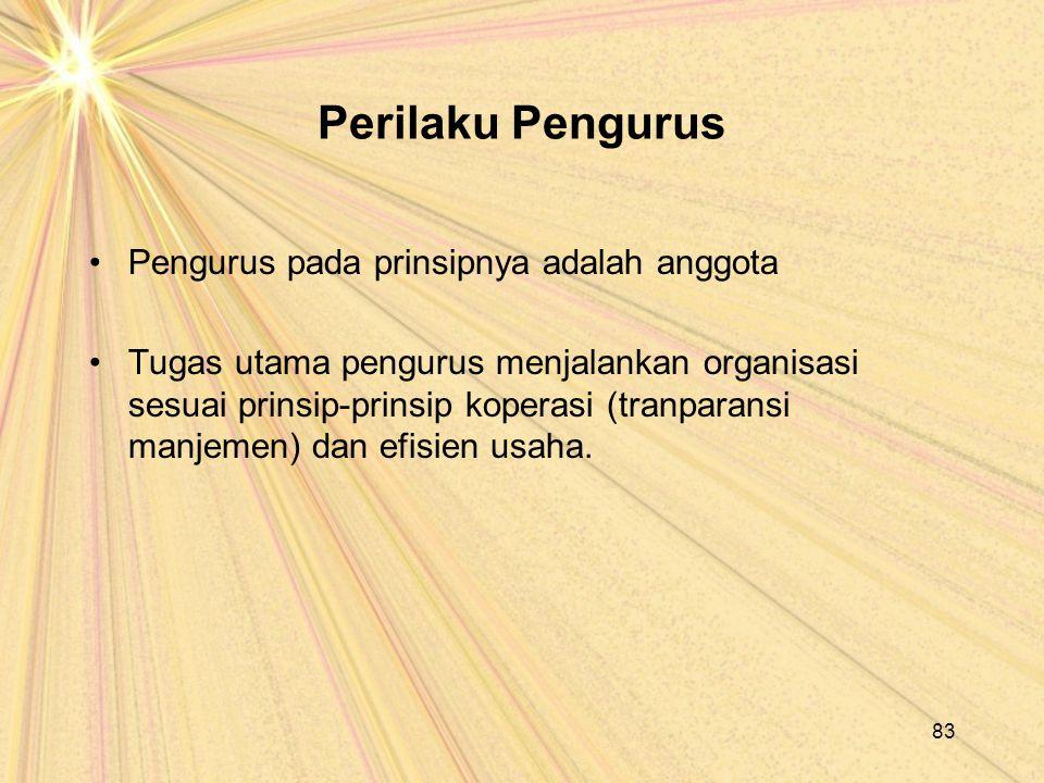 Perilaku Pengurus Pengurus pada prinsipnya adalah anggota