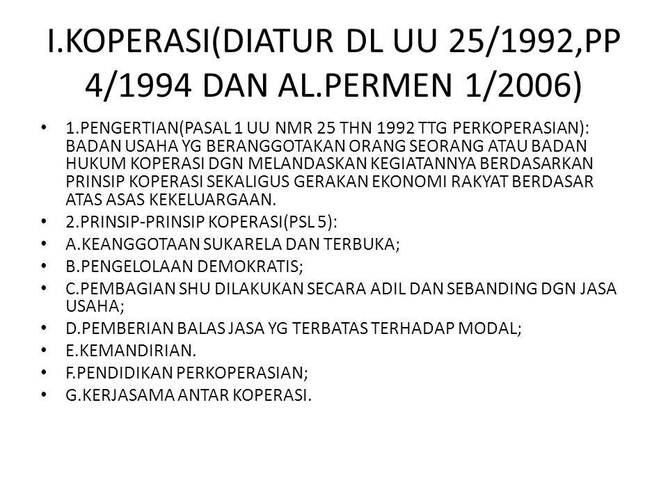 I.KOPERASI(DIATUR DL UU 25/1992,PP 4/1994 DAN AL.PERMEN 1/2006)