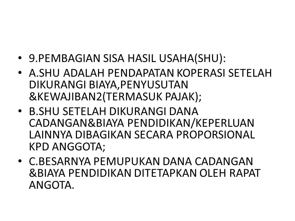 9.PEMBAGIAN SISA HASIL USAHA(SHU):