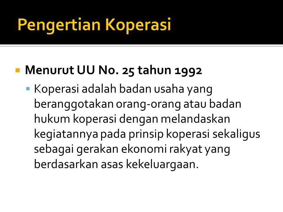Pengertian Koperasi Menurut UU No. 25 tahun 1992