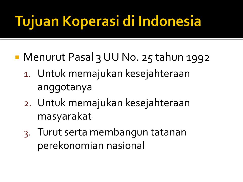 Tujuan Koperasi di Indonesia