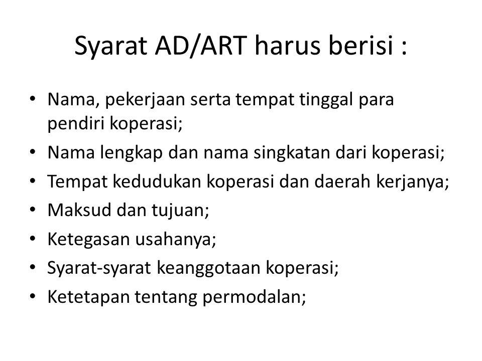 Syarat AD/ART harus berisi :