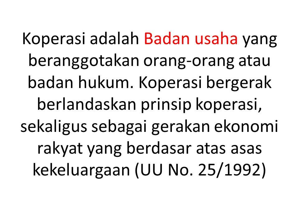 Koperasi adalah Badan usaha yang beranggotakan orang-orang atau badan hukum.