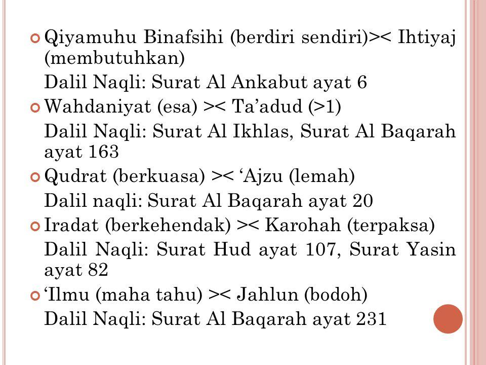 Qiyamuhu Binafsihi (berdiri sendiri)>< Ihtiyaj (membutuhkan)