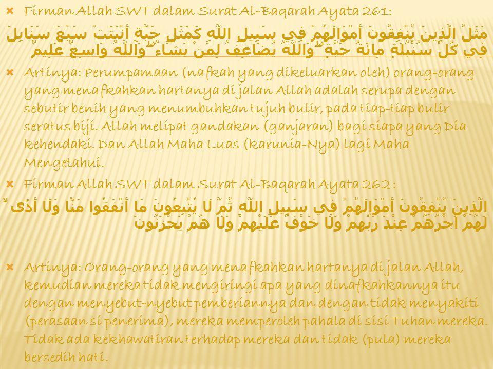 Firman Allah SWT dalam Surat Al-Baqarah Ayata 261: