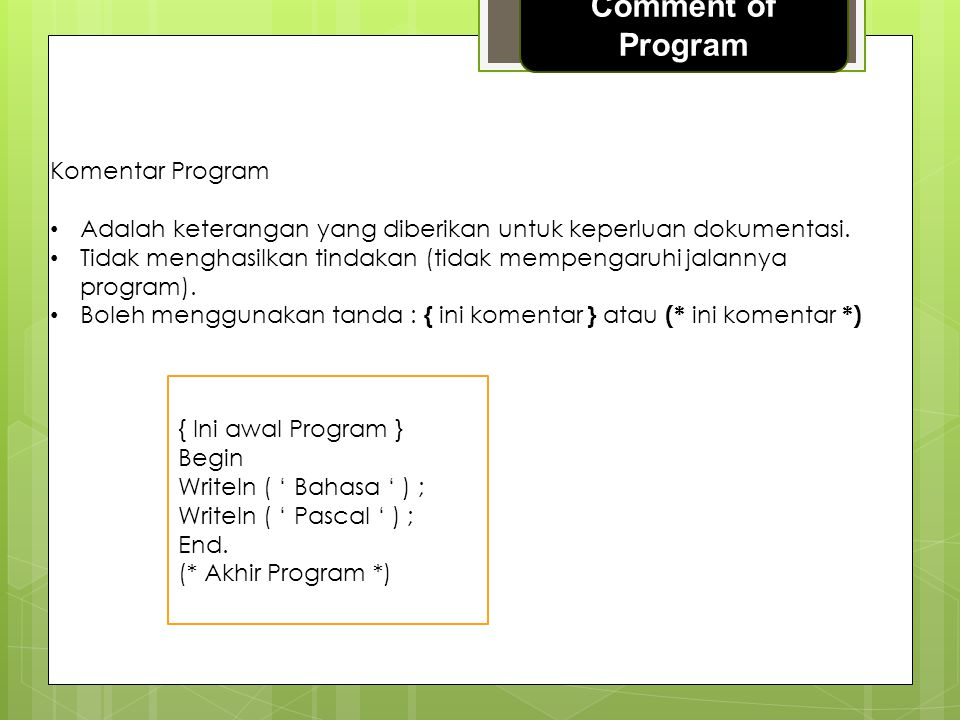 Comment of Program Komentar Program