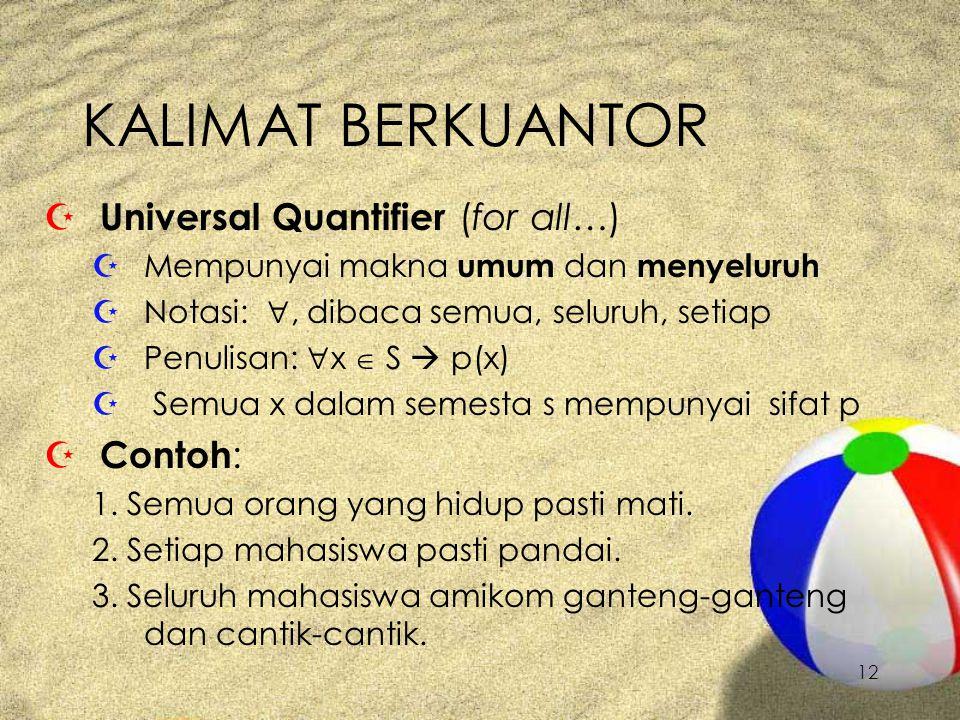 KALIMAT BERKUANTOR Universal Quantifier (for all…) Contoh: