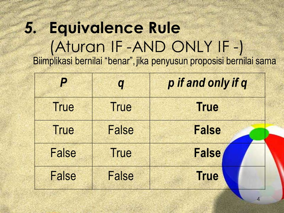 5. Equivalence Rule (Aturan IF -AND ONLY IF -)